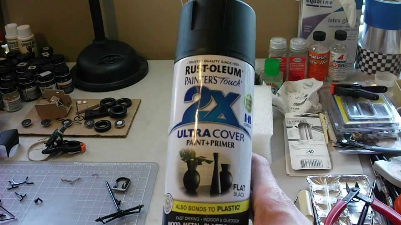Painting miniatures color master primer - Rustoleum 2x Ultra Cover Paint Primer Results Styrene Plastic Youtube
