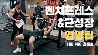 벤치프레스&가슴운동과 근성장 영양 팁:  수축보다 신전 중요, 고강도는 고중량 운동 아니다?! 보디빌더 김준호 I Bench Press IFBB Pro KIM JUN HO