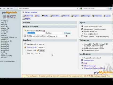 Видеоурок # 2. Создаём базу данных и пользователя
