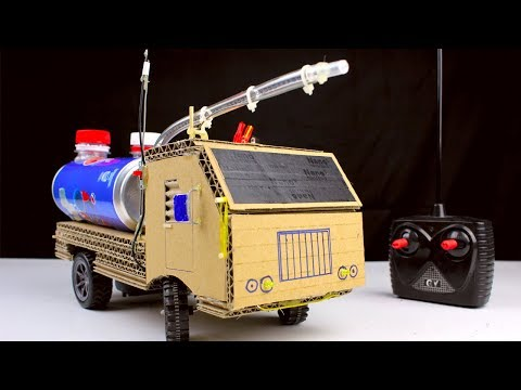 Thumbnail: How to make RC Fire Truck from Pepsi cans and Cardboard - Diy Remote control car at home
