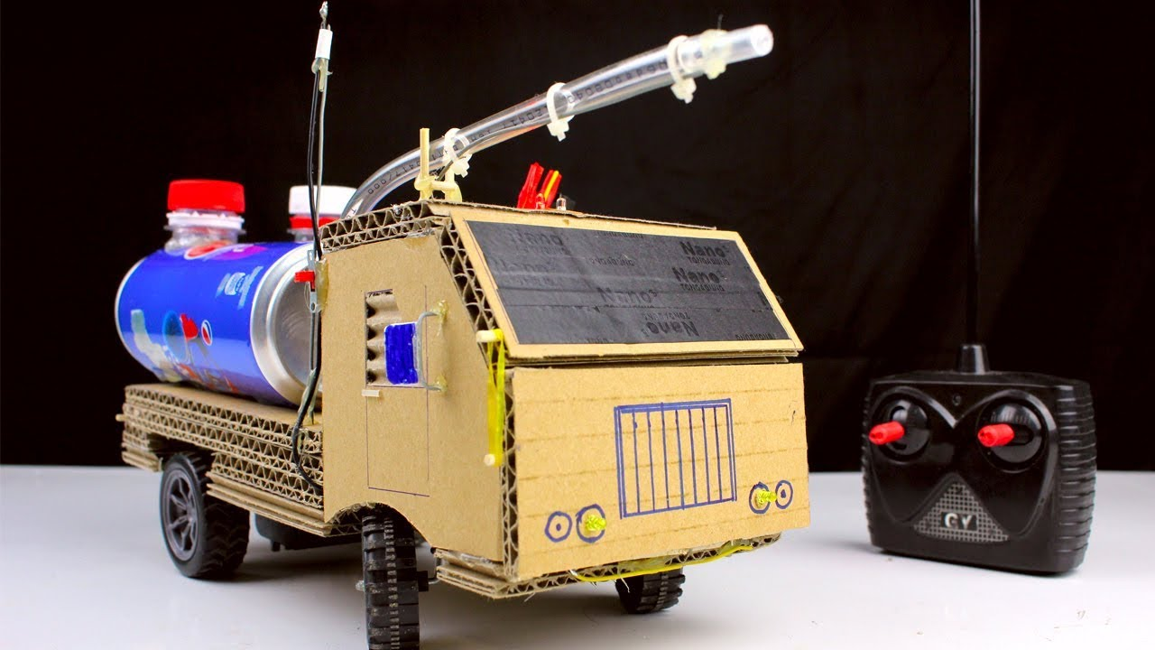 How To Make Rc Fire Truck From Pepsi Cans And Cardboard