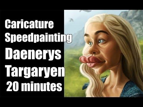 Caricature digital speedpainting celebrity daenerys targaryen 20 minutes