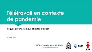 Webinaire: «Télétravail en contexte de pandémie: risques psychosociaux et pistes d'action»