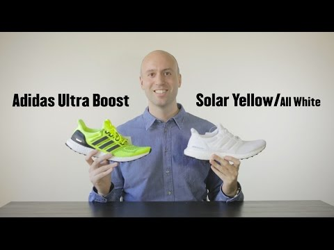 Adidas Ultra Boost Solar Yellow / White (Kanye West) comparison + review + unboxing + on-feet
