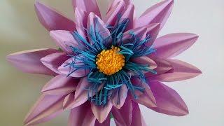 МК бумажный цветок. Как сделать кувшинку (водяную лилию, лотос) из цветной бумаги