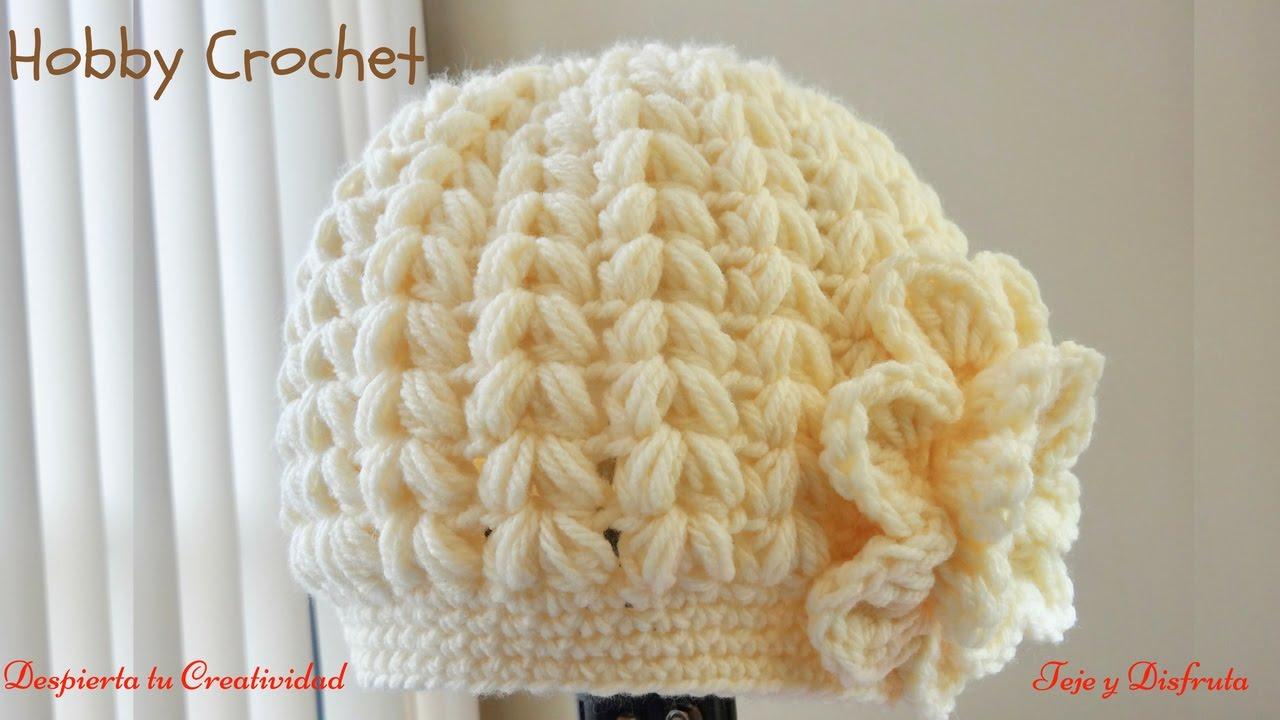 Gorro a crochet en punto puff en forma de espiga paso a paso. - YouTube bb05aa3dd6e
