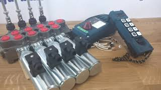 Hydraulic valve 4 sections HM line 90 l/min  24 gpm 24V double acting for cylinder spool + Remote Radio HM-Line 800 24V video
