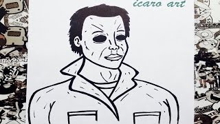 Como dibujar a michael myers | how to draw michael myers