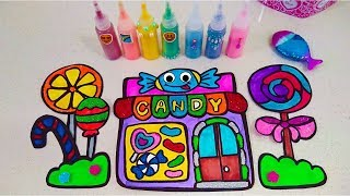 Rainbow CANDY SHOP beautiful | Drawing for kids | Glitter