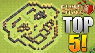 """Clash of Clans - TOP 5 BEST TROLL BASES! """"OMG!"""" Epic CoC Comedy Base Design Compilation! (Replays!)"""