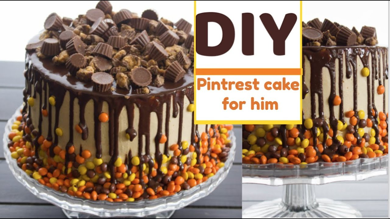 DIY easy Pinterest birthday cake for him birthday gift basket