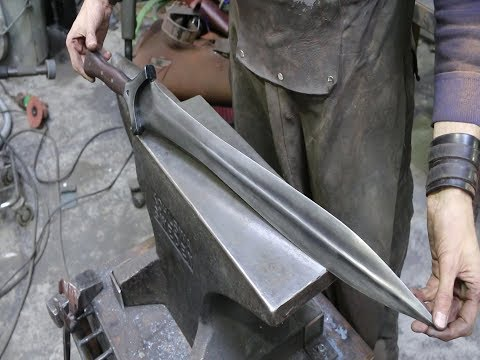 Forging a Bronze Age style sword from a semi truck leaf spring, part 3
