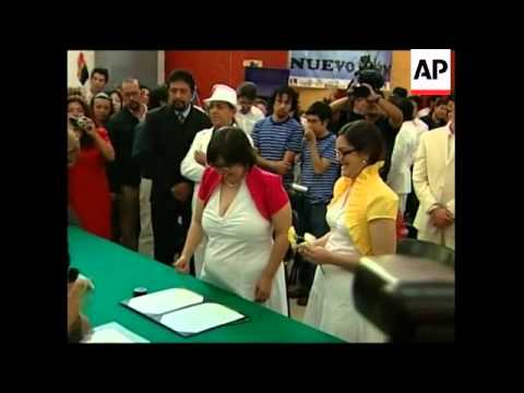 Gay couples from around Mexico come to be legally married