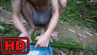 Примитивные технологии  Как приготовить рис с помощью обычного бамбука