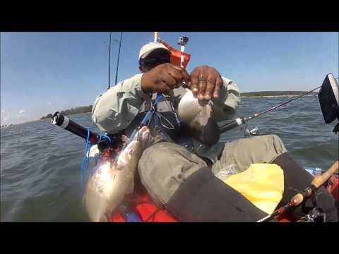 Kayak fishing point lookout state park for croakers youtube for Point lookout fishing