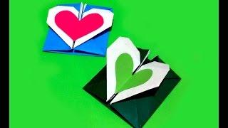 Easy Origami Heart envelope. DIY Valentine heart shaped card / envelope with secret message inside.