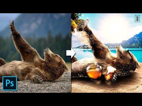 Urso tirando selfie MANIPULATION PHOTOSHOP TUTORIAL thumbnail