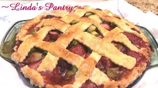 Homemade Fresh Strawberry Rhubarb Pie With Lindas Pantry