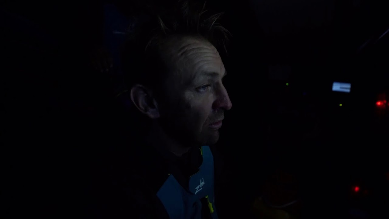 Jules at the nav station: Talks about Brunel, strategy. Stacking below. Jules: They're closing in behind us; we've hit the lighter air first. Dongfeng only 20 miles behind us now. Red light cockpit work. Jules: We'll park up again in another light area ahead of us. Whoever gets the wind first will win the leg, either Brunel or us. Or even Dongfeng if they catch up some more.