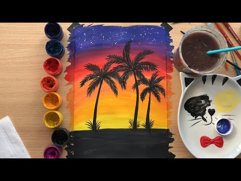 Рисуем пальмы на закате гуашью | Draw Palm Trees At Sunset With Gouache Paints