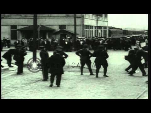 Police battle the Union pickets to quell rioting Longshoremen at San Francisco, C...HD Stock Footage