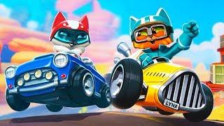 Веселые КОТЯТА - ГОНКИ НА МАШИНАХ веселый веселый летсплей игры про Котят гонщиков Meow Motors
