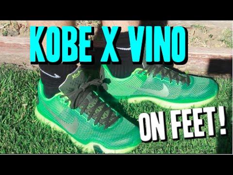 official photos ff7f4 ba925 Nike Kobe X VINO 10 ON FEET! Green Hornet!