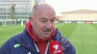 Сборная России по футболу провела последнюю тренировку перед завтрашним матчем с шотландцами.