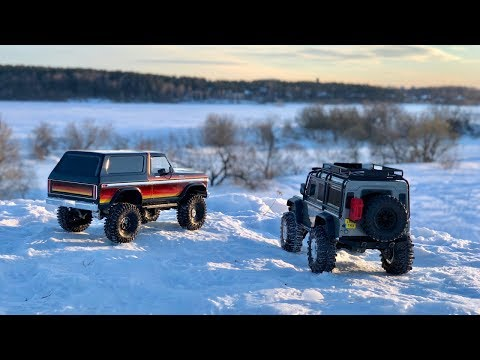 Traxxas TRX4 Bronco and Defender - trail with sunlight