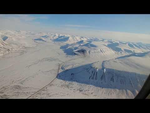 "SAS Boeing 737 arctic takeoff from Svalbard Airport ""Longyear"""