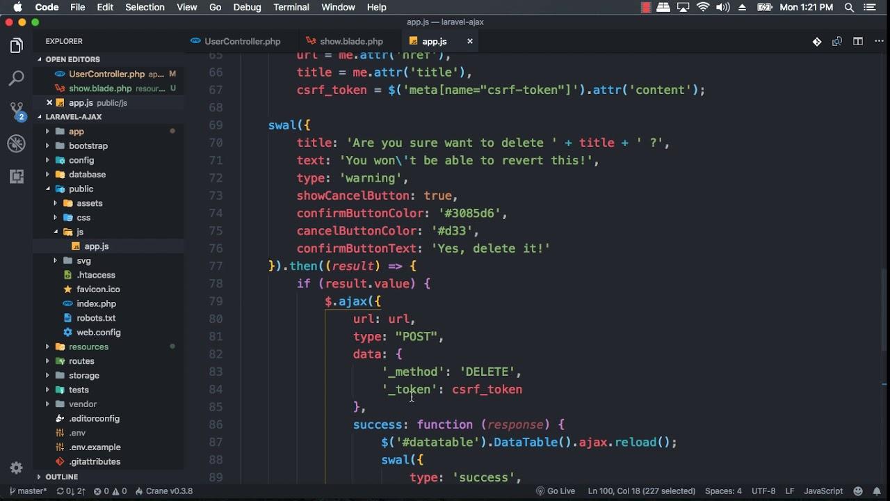 Laravel 5 7 AJAX CRUD - 09 Show Detail Data in HTML Response