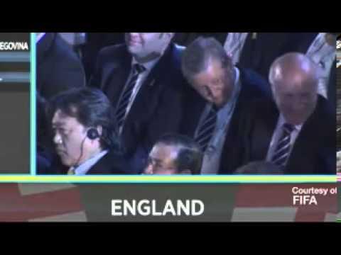 FA chairman Greg Dyke makes a throat slitting gesture