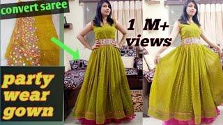 DIY: Convert Old Saree Into New Dress |पुरानीसाड़ी से गाउन कैसे बनाएं