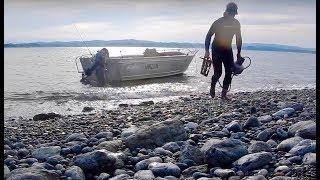 Boat camping, crabbing, diving, and fishing, Batemans Bay N.S.W. Australia