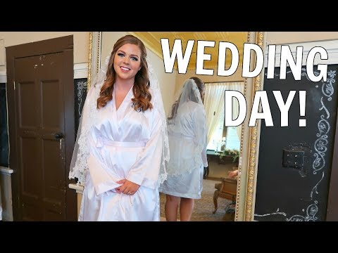 OUR WEDDING DAY: GET READY WITH ME! WEDDING HAIR + BRIDAL MAKEUP!