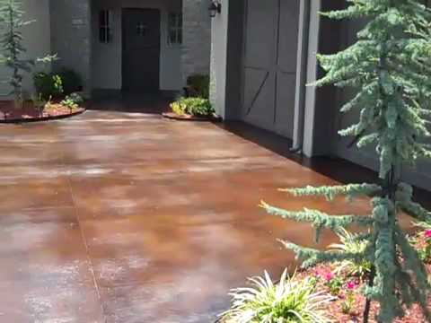 Acid stained concrete driveway youtube for Acid wash concrete patio