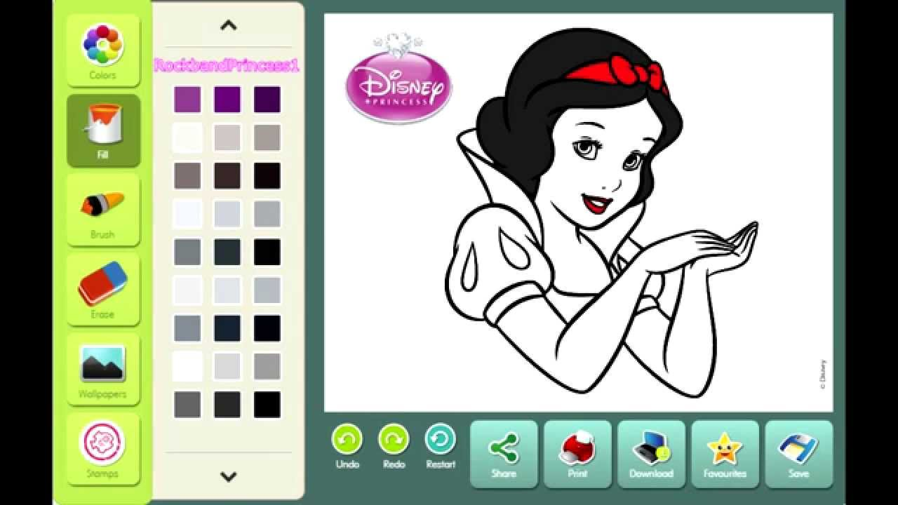 Online Interactive Coloring Pages Disney : Disney Princess Coloring Games Click And Color Disney YouTube