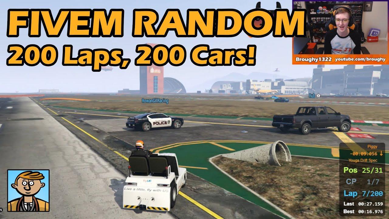 200 Random Cars In 200 Laps! - GTA FiveM Random Racing Live #50
