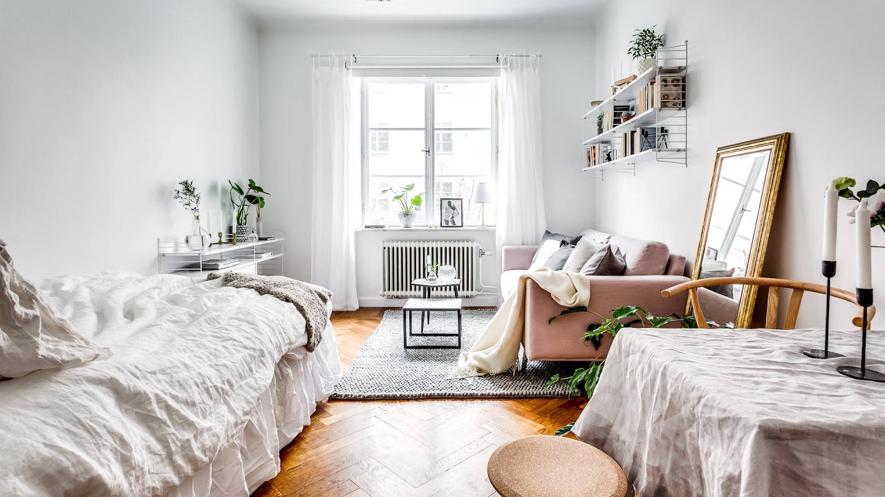 Studio Apartment Style tour mini studio apartment, scandinavian style 🍍 - youtube