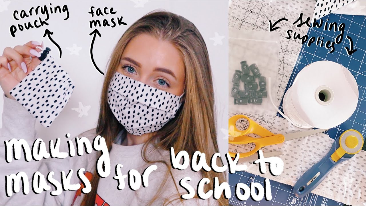 BACK TO SCHOOL FABRIC FACE MASK TUTORIAL (with carrying pouch) 2020