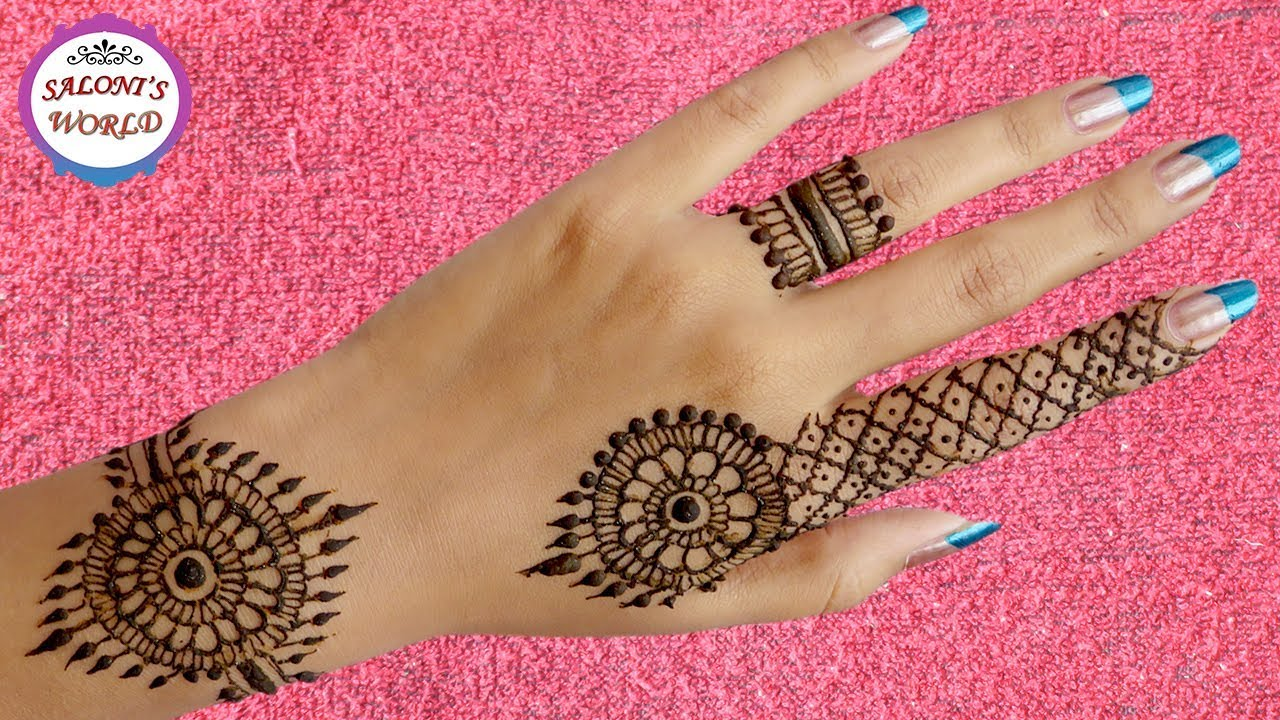 Simple Henna Tattoo On Hand: Super Easy Back Hand Henna Mehndi Designs For Beginners