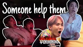 No one is as scared as Jin +Hobi the iconic terrified duo