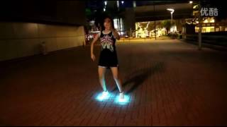 shuffle dance with LED shoes sexy girls dancer dance with glowing shoes