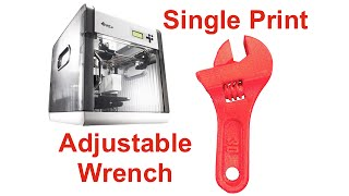 Single 3D Print Adjustable Wrench - Davinci 3D -Video #024