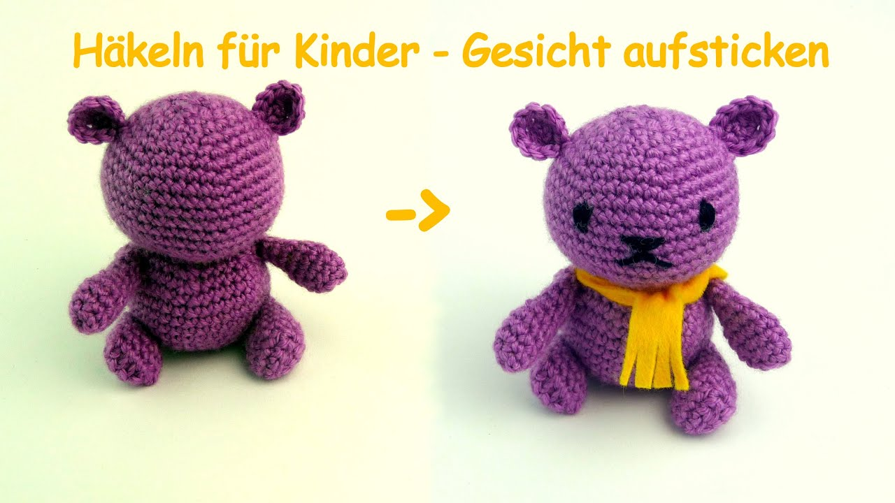 Amigurumi hakeln: Gesicht sticken - YouTube