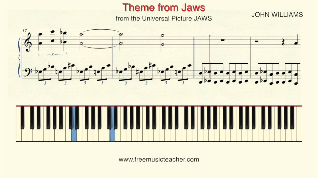 How To Play Piano: JOHN WILLIAMS Theme from Jaws Piano Tutorial by Ramin  Yousefi