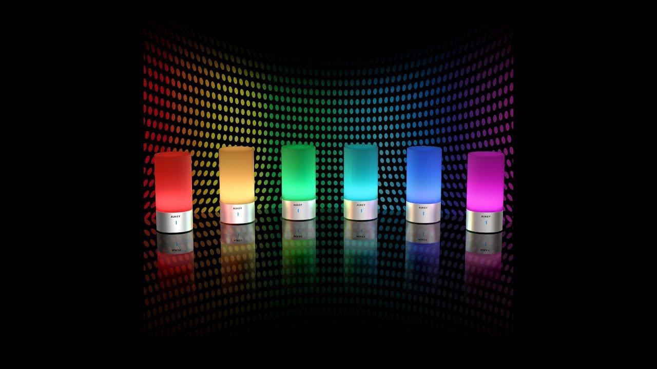 rgb led smartlamp aukey nachttischlampe dimmbar mit. Black Bedroom Furniture Sets. Home Design Ideas