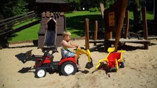 Ogromny traktor - koparka łyżka + koparka + przyczepa - taczki czerwony FALK 2081RM