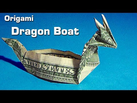 Dollar Origami Dragon Boat Instruction Money Origami 1 Bill
