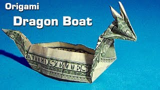 dollar origami dragon boat (instruction), money origami, $1 bill origami, dollar bill origami